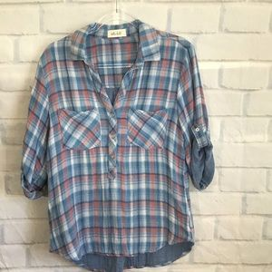 Bella Dahl Blue Plaid Rolled Sleeve Shirt